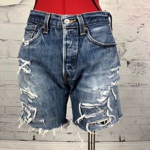 Levi's 501's High Waisted Long Denim Shorts   1791